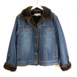 Wilsons Leather Denim Jean Jacket Faux Fur Lined